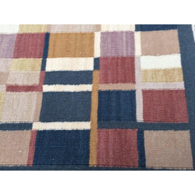 Geometric Indian Dhurrie Wool Rug - 4' x 6' - Image 4 of 8