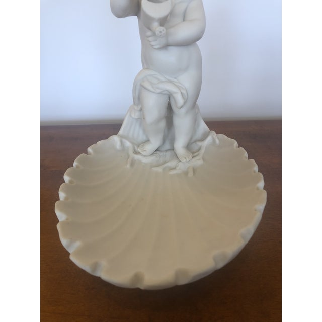 French Parian Porcelain Shell Motif Dish With Sculptural Putti For Sale - Image 3 of 10