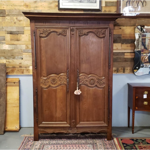 Antique 18th Century French Normandy Country Double Door Wedding Armoire Cabinet C1790 For Sale - Image 13 of 13