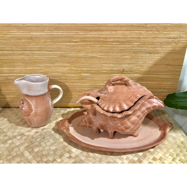 Ceramic Mid-Century Conch Soup Tureen With Matching Tray, Ladle, and Pitcher - Set of 3 For Sale - Image 7 of 10