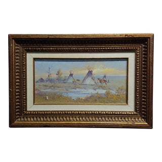 "Ace Powell - View of an Indian Camp W/ ""Teepees"" -Oil Painting For Sale"