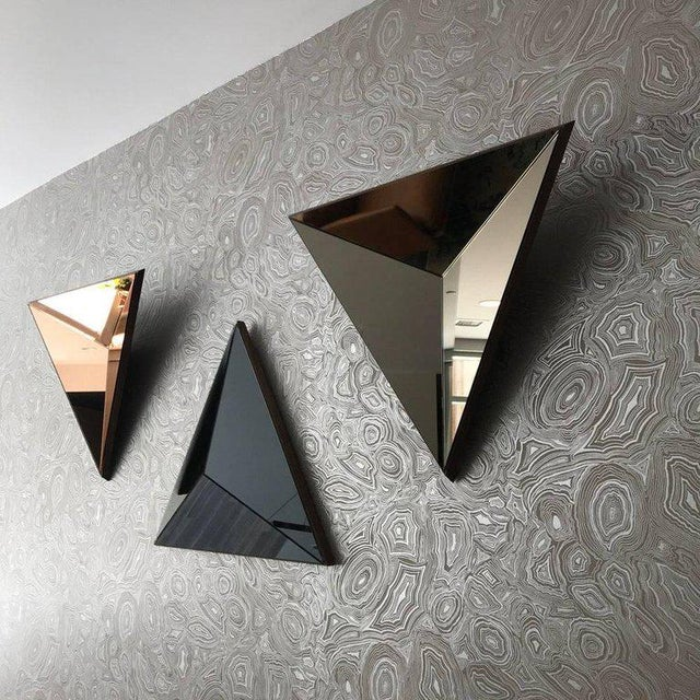 Modern Contemporary Volume Gray Mirror Convex by Robert Sukrachand, Made in Usa For Sale - Image 3 of 4