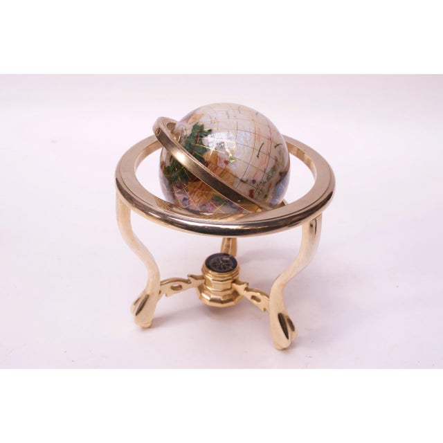 1990s Contemporary Petite Desk Globe in Brass, Gemstones, and Mother of Pearl For Sale - Image 5 of 13