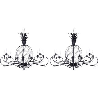 Large Midcentury Metal Pineapple Chandeliers - A Pair For Sale