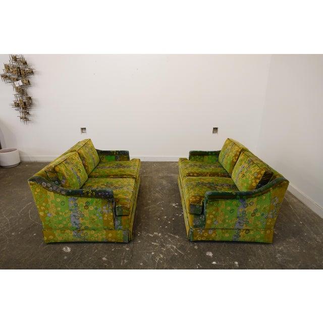 Green Mid Century Modern Loveseats Upholstered in Jack Lenor Larsen Fabric -A Pair For Sale - Image 8 of 8