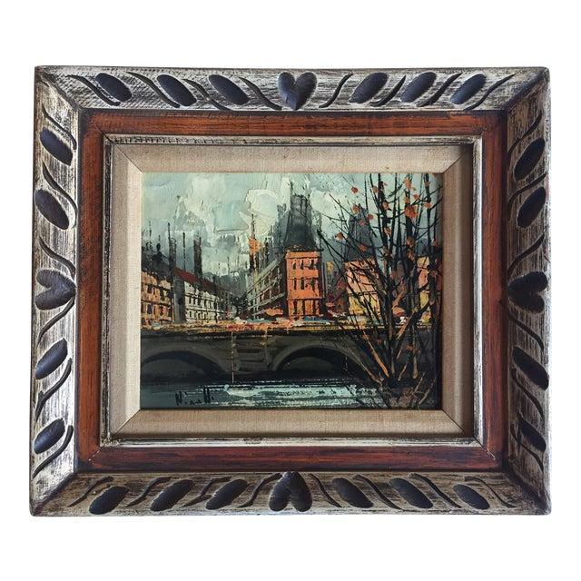 Vintage Mid Century Paris Street Scene Painting - Image 1 of 5