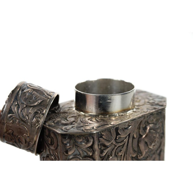 19th Century Antique Silver Repousse Tea Caddy For Sale - Image 9 of 9