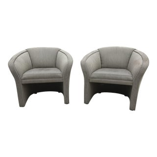 1980s Mid Century Modern Milo Baughman Sculptural Barrel Chairs - a Pair For Sale