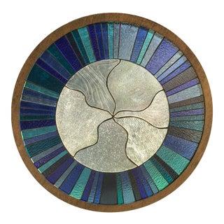 Handmade Blue Stained Glass Window