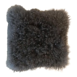 British True Mohair and Suede Pillow For Sale