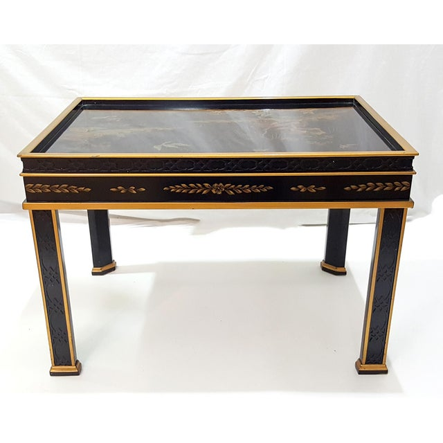 Drexel Heritage 1980s Chinoiserie Drexel Hand-Painted Black Lacquer Side Table For Sale - Image 4 of 13