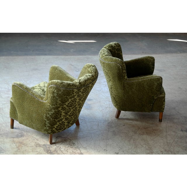 Pair of Danish 1940s Fritz Hansen Model 1669 Style Lounge Chairs For Sale In New York - Image 6 of 11