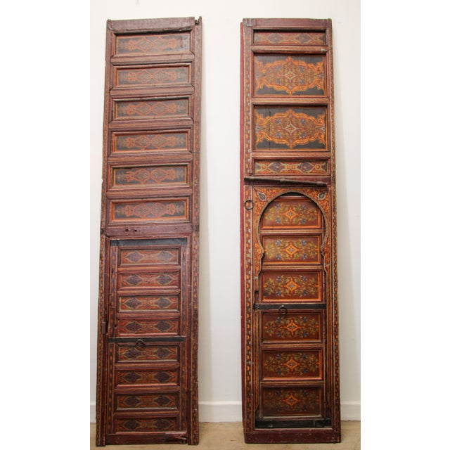 19th Century Moroccan Antique Double Door With Hand Painted Moorish Designs For Sale In Los Angeles - Image 6 of 13