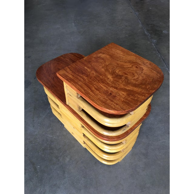 Paul Frankl Stacked Rattan Side Table With Cut Outs - a Pair For Sale - Image 4 of 9