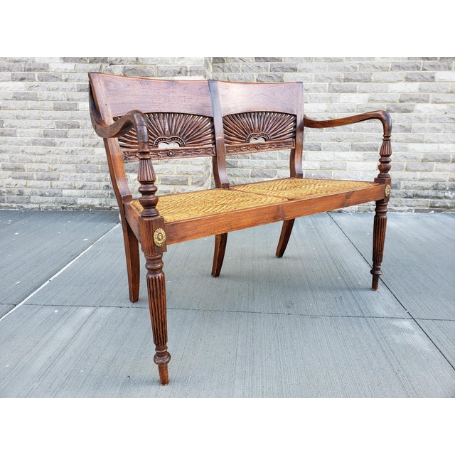 Gold Antique Carved Wood & Caned Settee For Sale - Image 8 of 13
