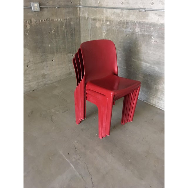 Acrilyc Polymer 1980s Vintage Vico Magistretti Stacking Chairs- Set of 4 For Sale - Image 7 of 8