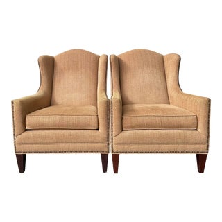 Fleming Wingback Chairs by Bassett - a Pair For Sale