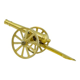 Brass Cannon Military Figurine or Paperweight for Study For Sale