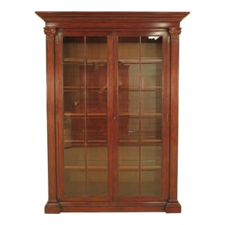 Ralph Lauren Monumental 2-Door Mahogany Curio Display Cabinet For Sale