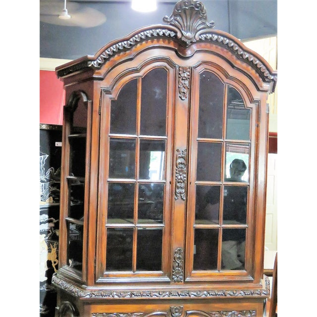 19th C. Carved Georgian 2 Pc. China Closet For Sale - Image 5 of 8