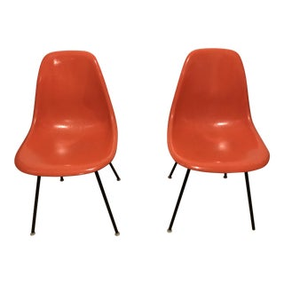 1970s Mid-Century Modern Charles Eames for Herman Miller Orange Fiberglass Side Chairs - a Pair