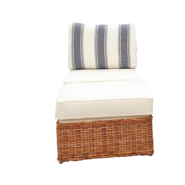 Custom Boho Rattan Chair and Ottoman Set For Sale