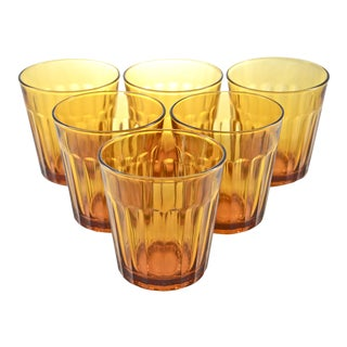 Amber Glass Tumblers - Set of 6 For Sale