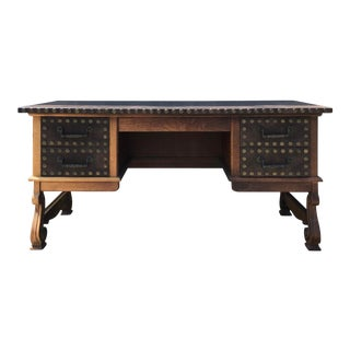 Leather Topped Medieval Style Executive Office Desk For Sale