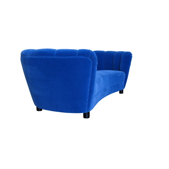 1930s Danish Deco Blue Mohair Settee For Sale - Image 5 of 10