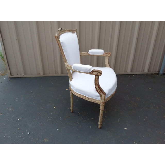 Cream 18th Century French Antique Armchair For Sale - Image 8 of 8