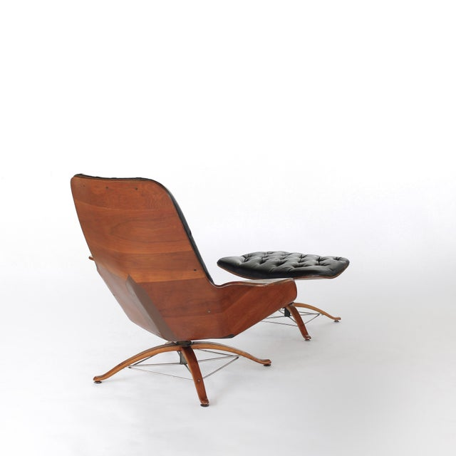 Mid Century Modern George Mulhauser for Plycraft Early Mr Chair Lounge Chair & Ottoman For Sale In Charlotte - Image 6 of 11