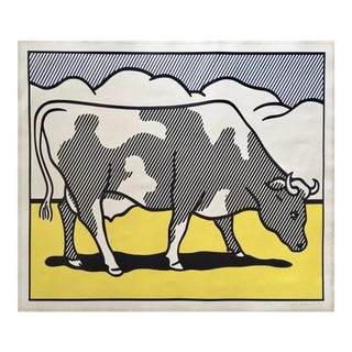 Roy Lichtenstein 'Cow Going Abstract' 1982 Hand Signed Original Pop Art Diptych Poster For Sale