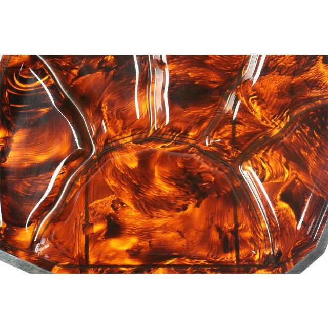 Faux Tortoise Shell & Chrome Steel Banded Divided Tray For Sale - Image 4 of 5