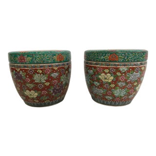 Chinese Floral Chinoiserie Jardiniere Planters - a Pair For Sale
