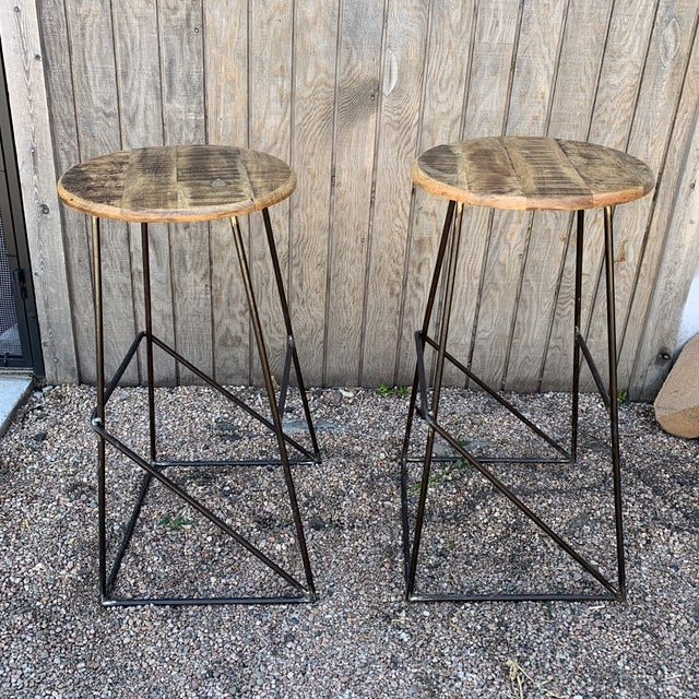 Modern Kalalou Rustic Wood and Metal Bar Stools- a Pair For Sale - Image 13 of 13