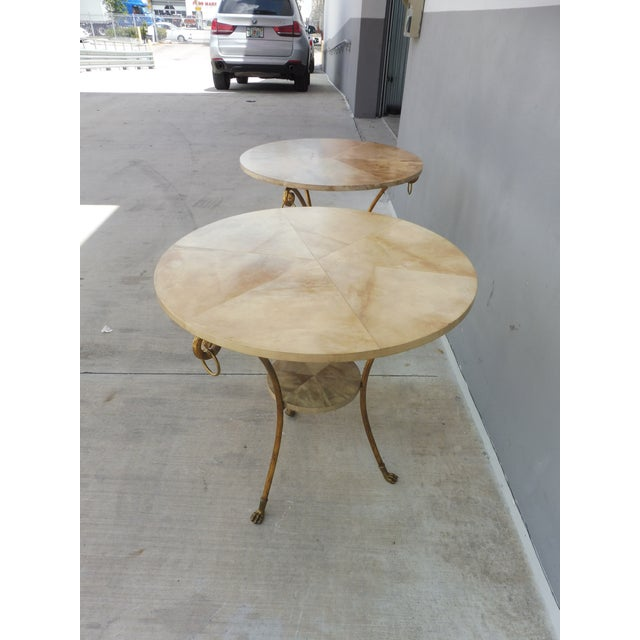 Parcel Gilt Wrought Iron and Goat Skin Tables - a Pair For Sale - Image 4 of 13