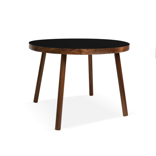 """Nico & Yeye Poco Small Round 23.5"""" Kids Table in Walnut With Black Top For Sale - Image 4 of 4"""