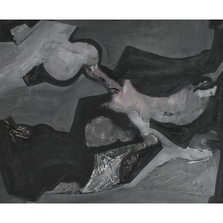 Jack Freeman Abstracted Forms in Grayscale, Acrylic Painting, 1960s Circa 1966 For Sale