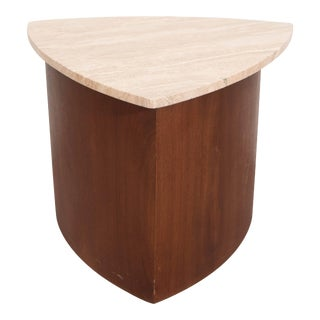 Wedge Accent Table in Walnut with Italian Travertine Top For Sale