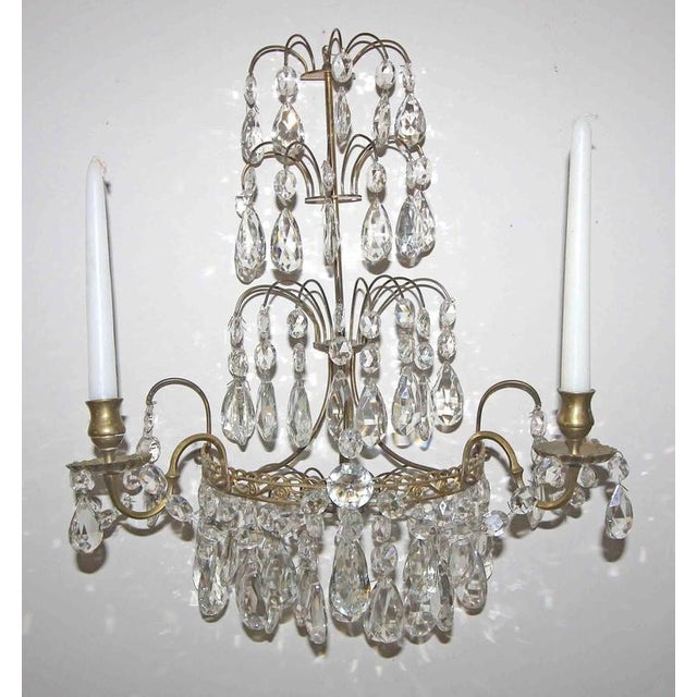 1920s Swedish Gustavian Style Crystal and Brass Candle Wall Sconces - a Pair For Sale - Image 10 of 11