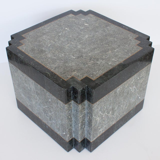 Contemporary 1980's Maitland Smith Tessellated Stone & Brass Side Table For Sale - Image 3 of 9