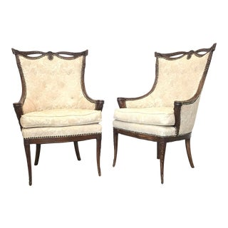 Carved Wood Hollywood Regency Fireside Chairs - a Pair For Sale