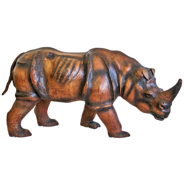 1970s Monumental Leather Rhinoceros Sculpture For Sale