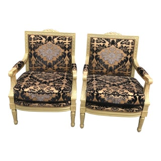 Antique Victorian Carved Gold Framed Chairs Newly Upholstered - Pair For Sale