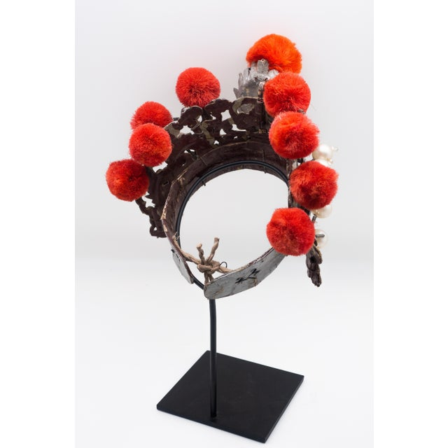Asian Antique Chinese Theatre Opera Headdress in Turquoise and Coral Colored Pom Poms For Sale - Image 3 of 6