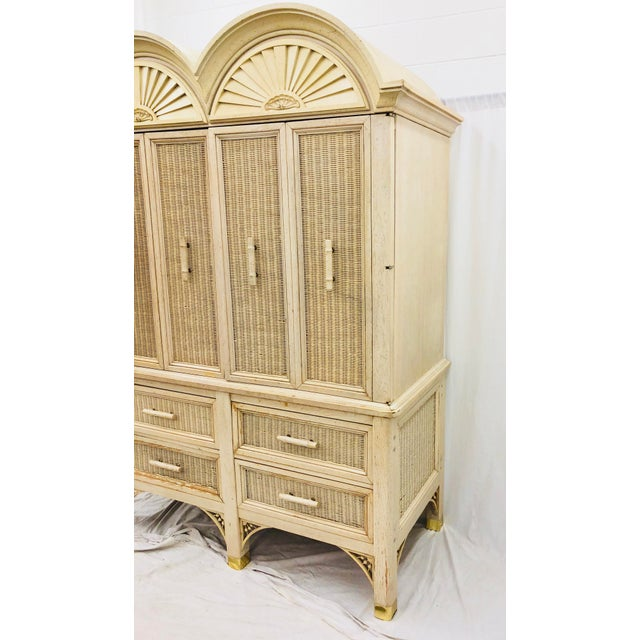 Vintage Faux Bamboo Chippendale Style Hutch For Sale In Raleigh - Image 6 of 13
