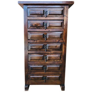 20h Century Spanish Carved Walnut Tuscan Seven Drawers Siffonier For Sale