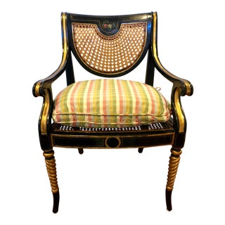 1990s Regency Theodore Alexander Cane Armchair For Sale