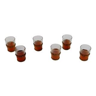 Leather Trimmed Shot Glasses - Set of 6 For Sale