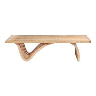 Modern Sculptural Oak Bench For Sale